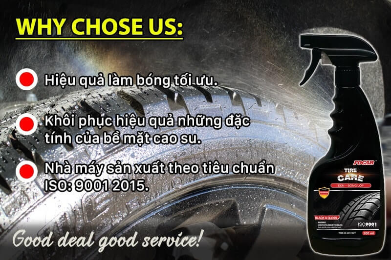 Dung dịch đen bóng lốp ô tô chuyên dụng phục hồi lốp cũ hiệu quả