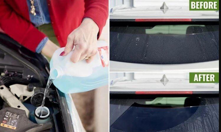 Nước rửa kính xe FOCAR hoặc dòng nước rửa kính chuyên dụng để đảm bảo tầm nhìn